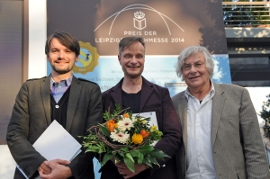 Alle Preisträger: Saša Stanišić (v. l.), Robin Detje  und Helmut Lethen. Foto: Leipziger Messe GmbH / Uli Koch