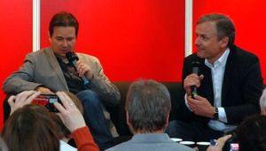 Sprechen über Fußball: Der taz-Chefreporter Peter Unfried (l.) und der Journalist und Schriftsteller Axel Hacke.
