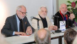 Buchvorstellung: Thomas Rietzschel (v. l.), Henryk M. Broder und der Moderator