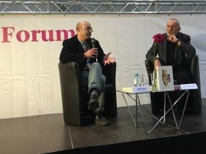 Filip Florian (l.) im Gespräch mit seinem Übersetzer Georg Aescht - Foto: Christian Lund